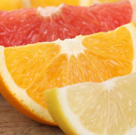 Nahaufnahme geschnittene Orange, Zitrone und Grapefruit Früchte